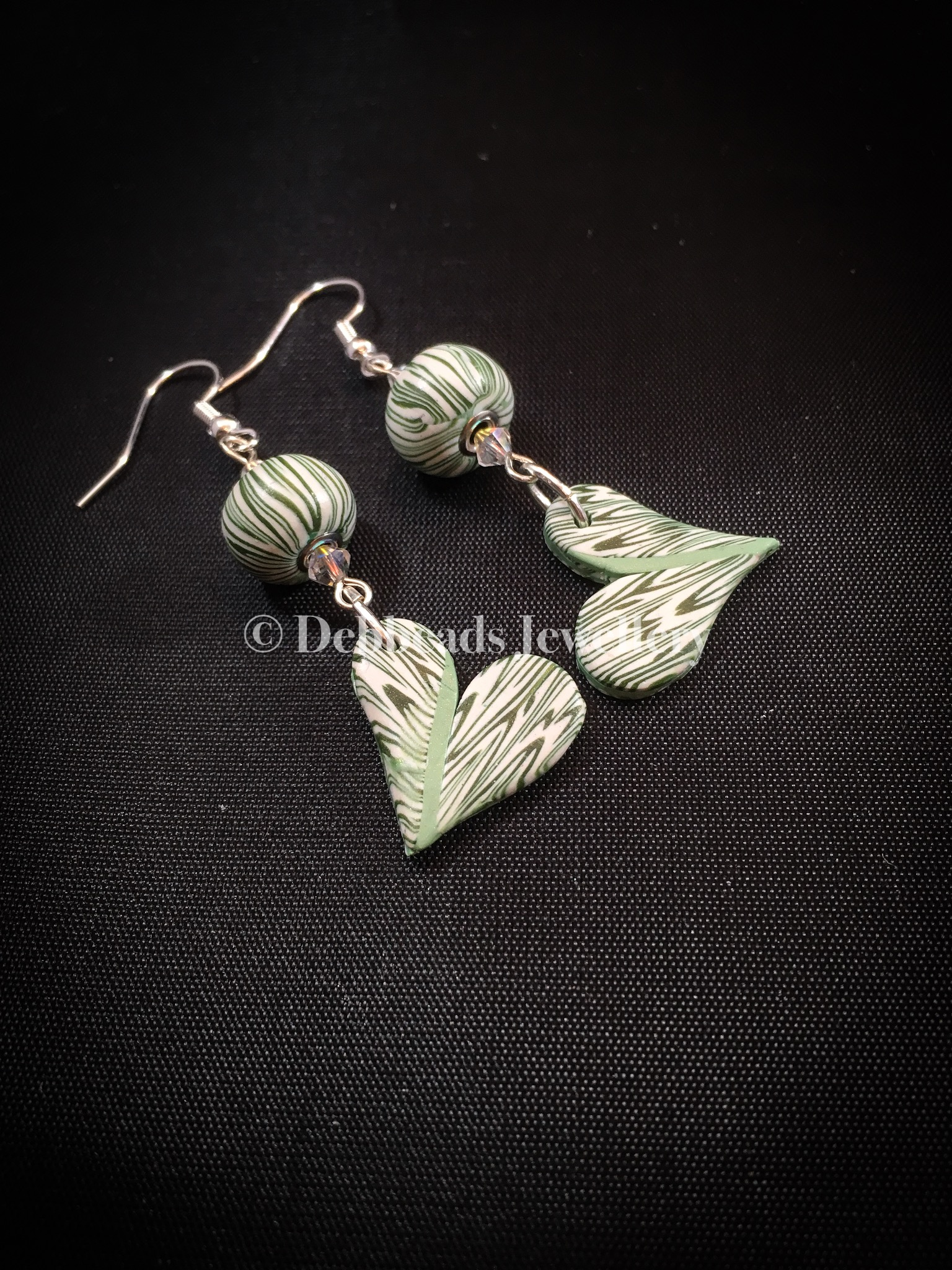 Flat green patchwork heart earrings