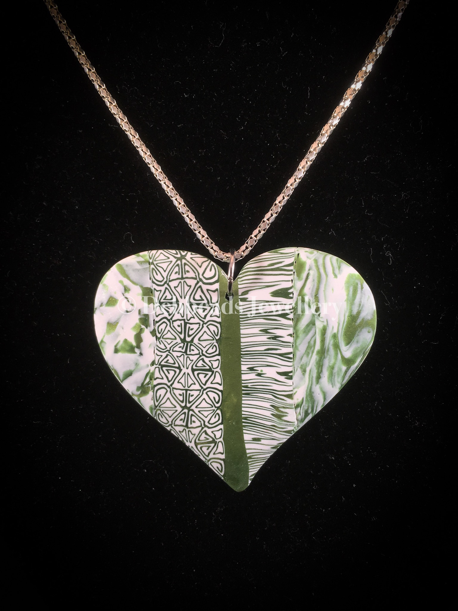 Flat green patchwork heart pendant