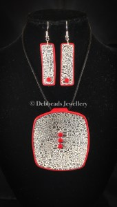 Lace Cane Monochrome Red Dotted pendant & earring set