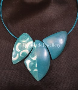 Teal Swirl Triple Bead Necklace