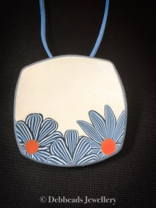 White Square Pendant with blue stripy flowers