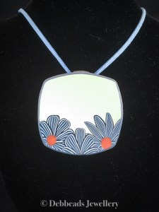 White Square Pendant with blue stripy flowers 1