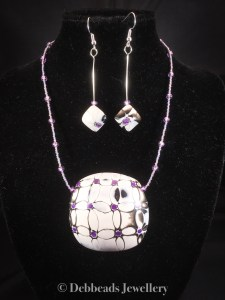 Black, white and purple mokume gane flower necklace - set