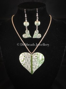 Flat green patchwork heart pendant - set