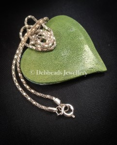 Flat green patchwork heart pendant - clasp and chain