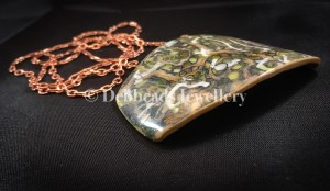 Layered earthy rectangle statement pendant - side view