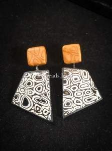 Gold framed mokume gane earrings