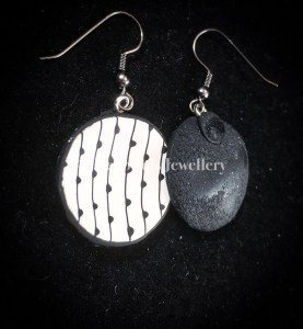 Ditsy dotty disc earrings - rear view