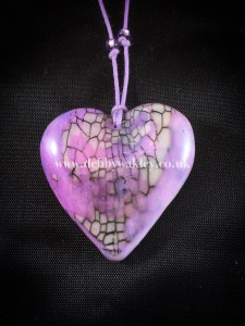 Crackled lilac reversible puffed heart