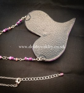 Over sized purple heart - back and clasp