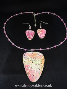 Etched flower pendant & Earring set