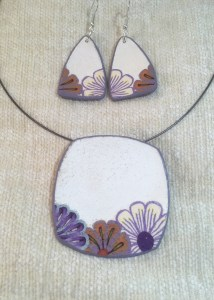 White Square Pendant with purple flower